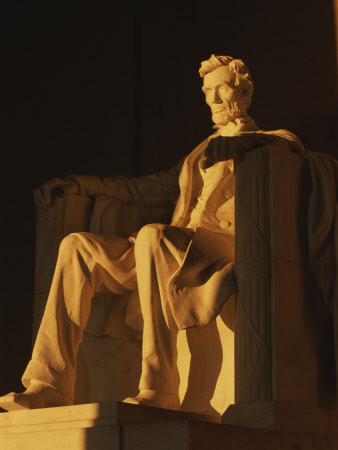Abraham Lincoln Statue in Lincoln Memorial, Washington, D.C. Stretched Canvas Print