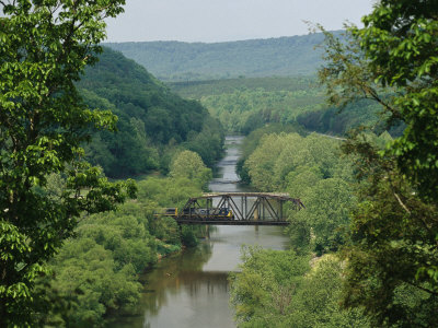 Train Crosses Trestle Bridge over the Tye River Near the James River Stretched Canvas Print