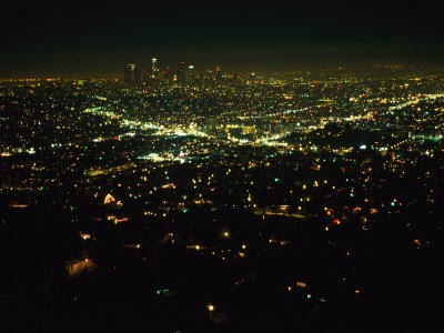 Night View of Los Angeles City Lights Seen from Griffith Observatory Stretched Canvas Print