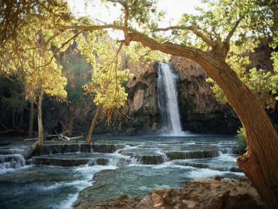 Scenic View of a Waterfall on Havasu Creek Stretched Canvas Print