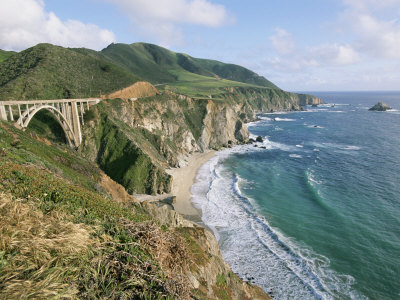 A View of Bixby Bridge on Hwy 1, Along Californias Big Sur Coast Stretched Canvas Print