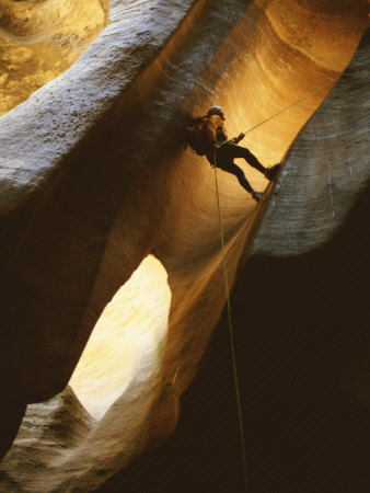 Man Rappelling Down a Canyon in Zion National Park Stretched Canvas Print