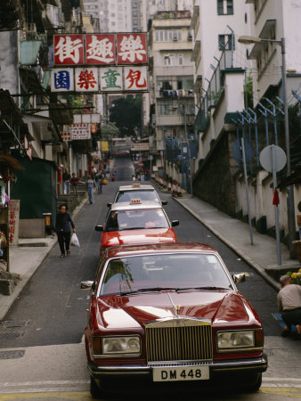 One of Hong Kongs Many Rolls Royce Cars in Central Stretched Canvas Print