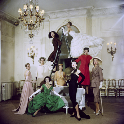 Models Posing in New Christian Dior Collection Stretched Canvas Print
