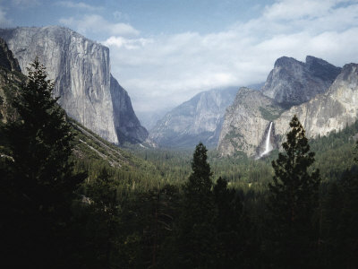 El Capitan and Bridal Veil Falls Visible in Wide Angle View of Yosemite National Park Stretched Canvas Print