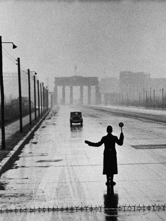 Automobile Arriving from the Eastern Sector of Berlin Being Halted by West Berlin Police Stretched Canvas Print