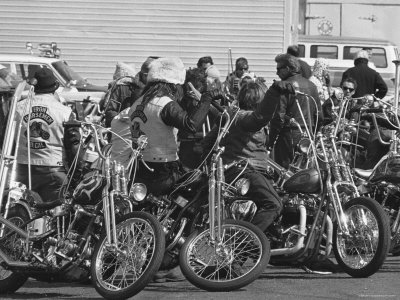 Hell's Angels Motorcycle Gang Members Congregating on Their Bikes Before Heading to Bakersfield Stretched Canvas Print
