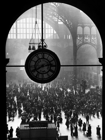 Clock in Pennsylvania Station Stretched Canvas Print