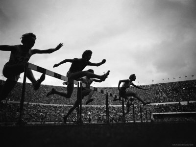Action During the Women's 100m Hurdles at the 1952 Olympic Games in Helsinki Stretched Canvas Print