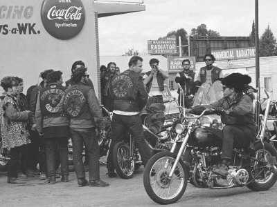 Hell's Angels Motorcycle Gang Members Hanging Out in a Parking Lot Stretched Canvas Print