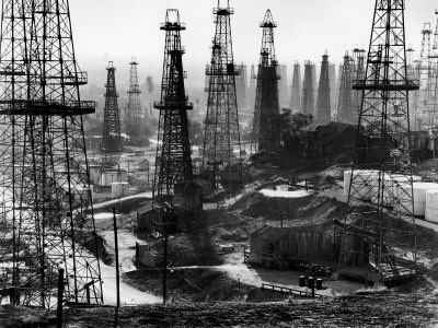 Forest of Wells, Rigs and Derricks Crowd the Signal Hill Oil Fields Stretched Canvas Print