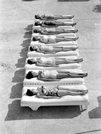 Fashion Models Wearing Swimsuits at a Florida Pool Stretched Canvas Print