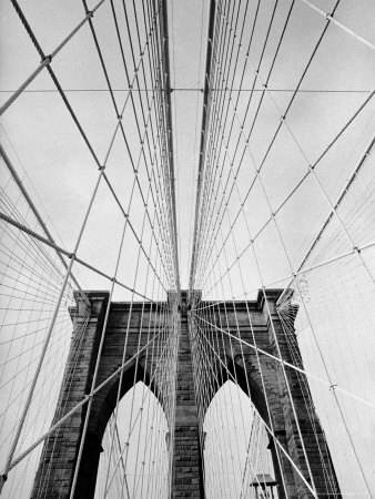 Detail of the Brooklyn Bridge Stretched Canvas Print