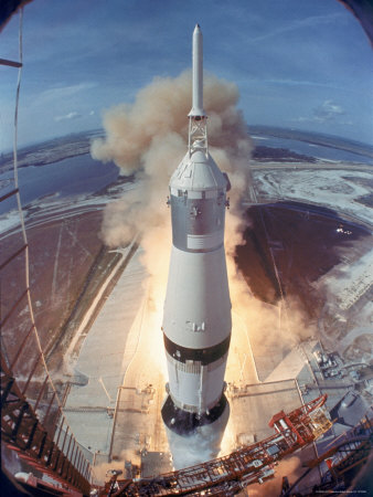 Apollo 11 Taking Off For Its Manned Moon Landing Mission Stretched Canvas Print