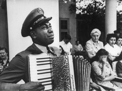 Navy CPO Graham Jackson Playing Accordian, Crying as Franklin D Roosevelt's Body is Carried Away Stretched Canvas Print