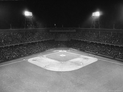 Aerial View Showing the Brooklyn Dodgers vs. St. Louis Cardinals Baseball Game at Ebbets Field Stretched Canvas Print