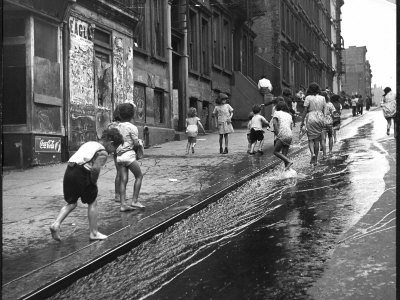 Children Playing on 103rd Street in Puerto Rican Community in Harlem Stretched Canvas Print