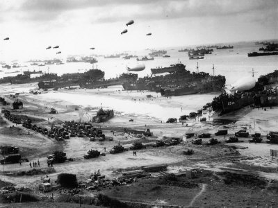 Massive Landing of US Troops, Supplies and Equipment in the Days Following D-Day on Omaha Beach Stretched Canvas Print