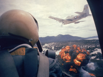 American Jets Dropping Napalm on Viet Cong Positions Early in the Vietnam Conflict Stretched Canvas Print