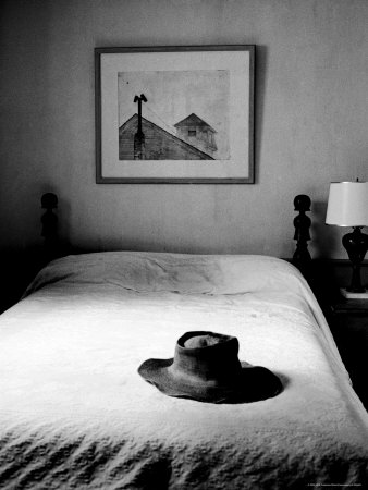 Hat Belonging to Painter Andrew Wyeth on Top of Bed at Home Stretched Canvas Print