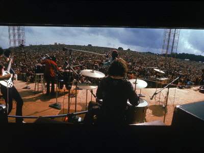 Huge Crowd Listening to a Band Onstage at the Woodstock Music and Art Festival Stretched Canvas Print