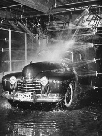 Car Rolling Through the Car Wash at Rockefeller Center Stretched Canvas Print