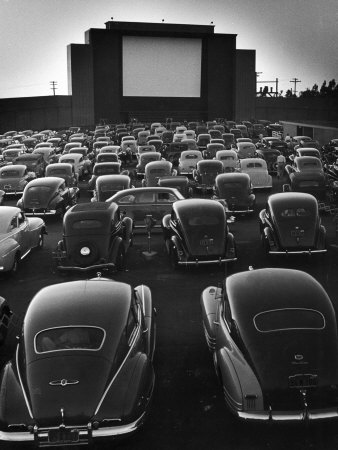 Cars Filling Lot at New Rancho Drive in Theater at Dusk Before the Start of the Feature Movie Stretched Canvas Print