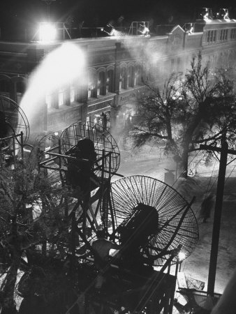"Machines Making Snow and Wind on Set of the Movie ""It's a Wonderful Life"" Stretched Canvas Print"