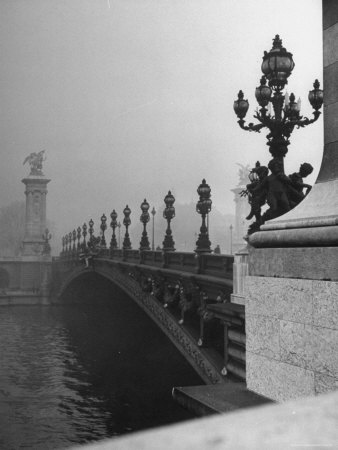 Looking Across the Pont Alexandre III Bridge Toward the Grand Palace Stretched Canvas Print