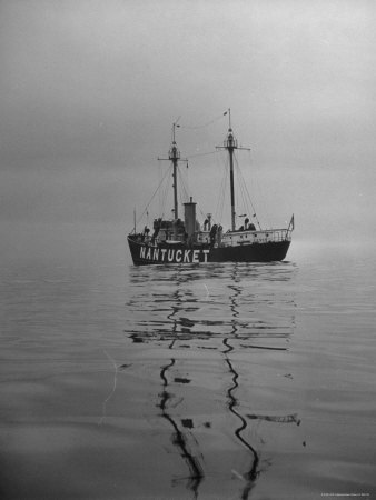 Lightship &quot;Nantucket&quot; Riding Anchor Near Quicksand Shallows to Warn Away Other Ships Stretched Canvas Print