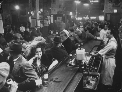 Bar Crammed with Patrons at Sammy's Bowery Follies Stretched Canvas Print