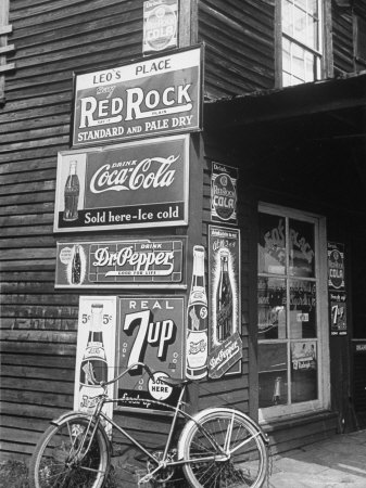 Food Store Called Leo's Place Covered with Beverage Ads Incl. Coca Cola, 7 Up, Dr. Pepper and Pepsi Stretched Canvas Print