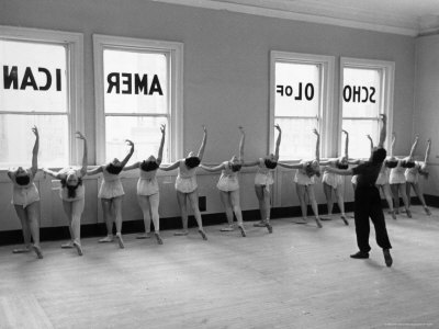 Dancers at George Balanchine's School of American Ballet Lined Up at Barre During Training Stretched Canvas Print