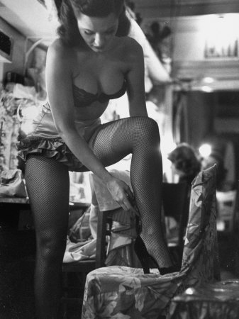 Chorus Girl Singer Linda Lombard, Backstage Getting Ready For Show Stretched Canvas Print