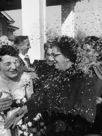 Confetti Shower After Italian American Wedding Stretched Canvas Print