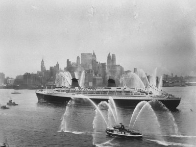 Fireboats Greeting the SS France, as It Enters the New York Harbor on Its Maiden Voyage Stretched Canvas Print