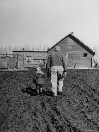 Grandpa and 4 Year Old Granddaughter, on Morning Chores, to Feed Pigs on Nearby Lot Stretched Canvas Print