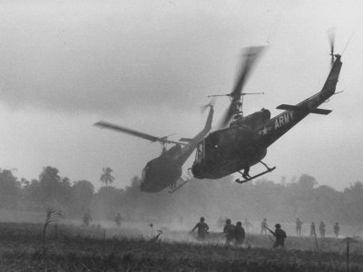 US Helicopters Carrying South Vietnamese Troops in Raid on Viet Cong Positions Stretched Canvas Print