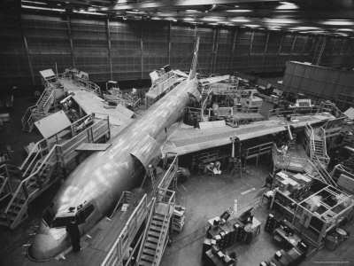 Boeing's New 707 Jet Aircraft, at the Boeing Plant Stretched Canvas Print