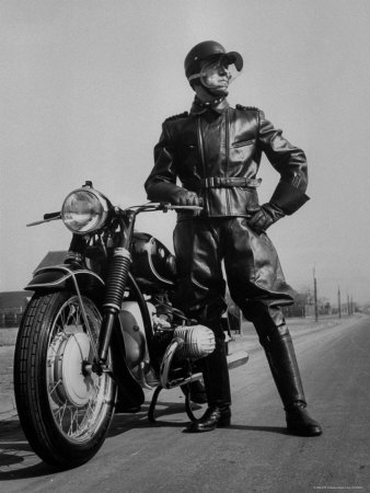 Front Shot of a German Made BMW Motorcycle and Rider Stretched Canvas Print