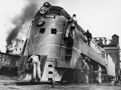 Soldiers Working on Locomotive Stretched Canvas Print