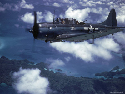 US Navy SBD Dauntless in Flight During Palau Islands Air Raid Attack Stretched Canvas Print