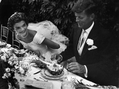 Senator John F. Kennedy and Bride Jacqueline Enjoying Dinner at Their Outdoor Wedding Celebration Stretched Canvas Print