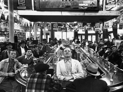 Subway Series: Rapt Audience in Bar Watching World Series Game from New York on TV Stretched Canvas Print