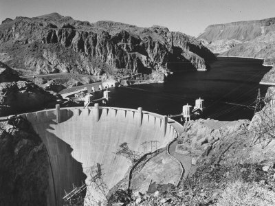 View of Boulder Dam, 726 Ft. High with Lake Mead, 115 Miles Long, Stretching Out in the Background Stretched Canvas Print