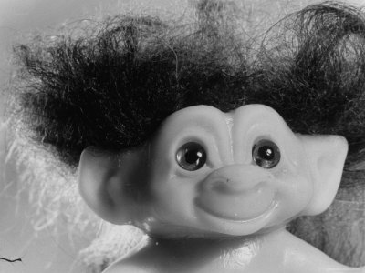 "Three Inch Troll Doll Called ""Dammit"" Sold by Scandia House Enterprises Stretched Canvas Print"