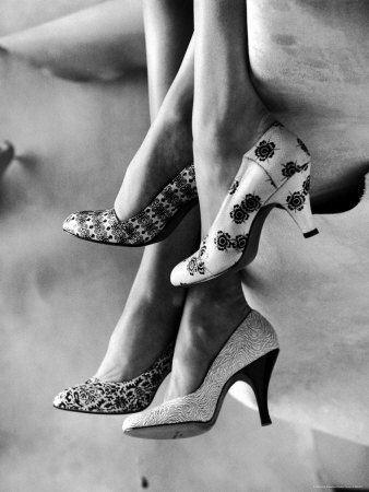 Models Displaying Printed Leather Shoes Stretched Canvas Print