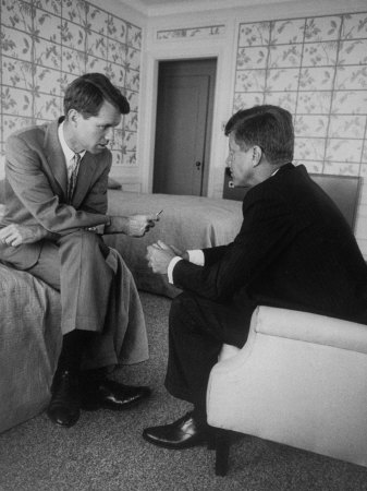 Senator John F. Kennedy and Brother Robert F. Kennedy Conferring in Hotel Suite During Convention Stretched Canvas Print