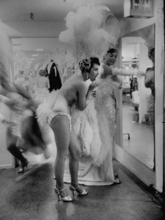 Showgirls Standing in the Dressing Room of the Stardust Hotel Stretched Canvas Print