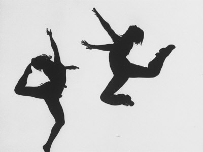 Silhouettes of Dancers Diane Sinclair and Ken Spaulding Stretched Canvas Print